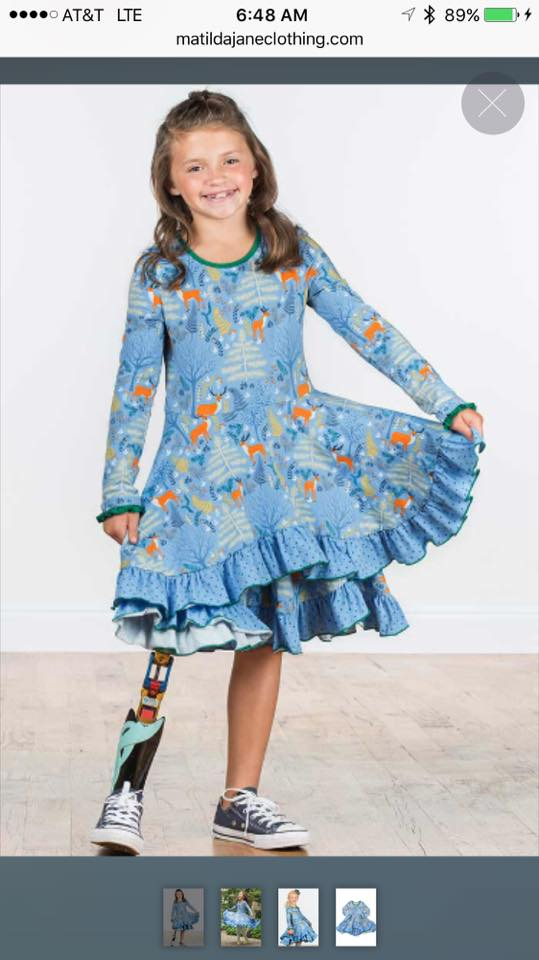 POA client Katie, AK amputee, modeling for  Matilda Jane Clothing