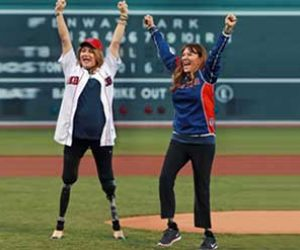Double Amputee Throwing First Pitch at Red Sox Game